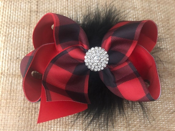 Red Buffalo Plaid Hair Bows,Red Black Plaid Bow,Christmas Baby Bow,Black Red Plaid Marabou Hair Bow,Holiday Hair Bow Girls