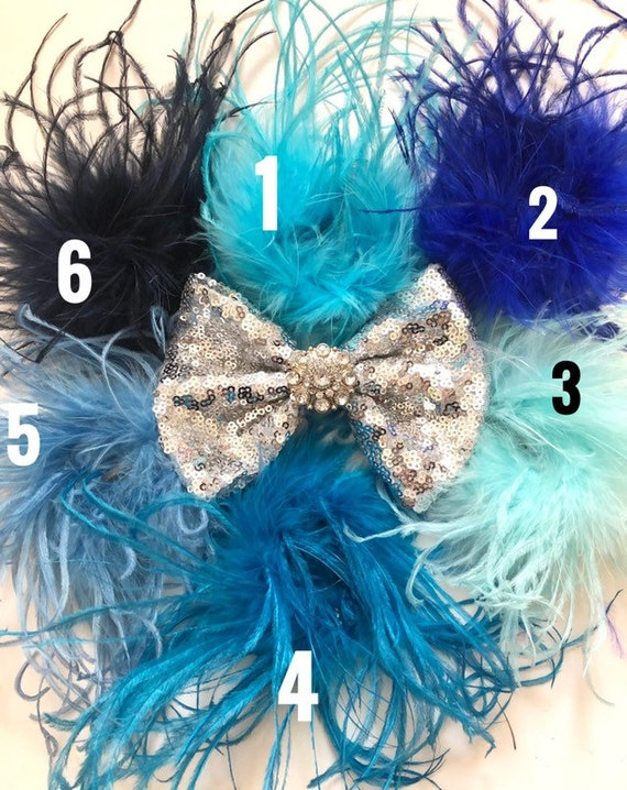Silver Feather Hair Bow, Dance Costume Hair piece, Black, Red, Royal Blue, Pink, Feather Hair Bow, Custom Feather Bow, Dance Costume
