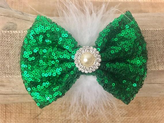 Emerald Green and White Hair Bow, Hunter Green Bow,Green White Hair Bow for Girls Holiday Hair Bow Blue Green Bow, Custom Hair Bows