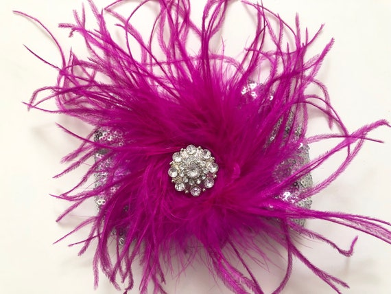 Raspberry Purple Feather Dance Costume Hair piece, Silver Sequin Bow, Dance Competition Hair