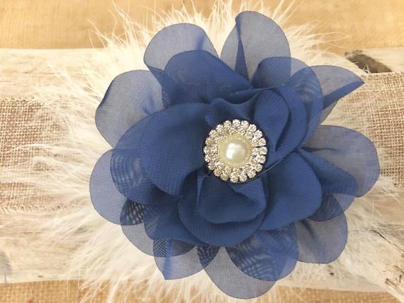 Navy Flower Hair Clip, Navy Flower Clip, Flower Girl  Clips, Ivory Blue Hair Clip, Blue Ivory Flower Clip, Bridal Hair Clip, Floral Hair cli