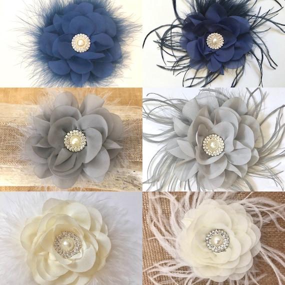 Flower Hair Clips, Navy Hair Clip, Silver Hair Clip, Ivory Flower Clip, Teal Hair Clip, flower Girl Feather Hair Clip, Wedding Hair Clips