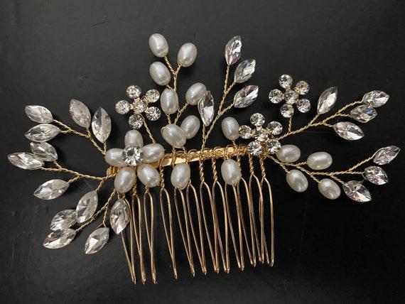 Gold Hair Comb, Bridal Pearl hair Comb,Crystal Wedding Comb, Gold Crystal Comb, Pearl Hair Comb, Silver Bridal Comb, Vintage Wedding Comb,