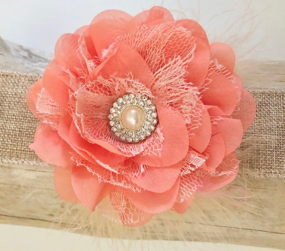 Flower Hair Clip, Bridal Flower Clip, Coral, White, Ivory, Gray, Red, Pink , Coral Chiffon Lace Flower Pearl Marabou Hair Flower clip,