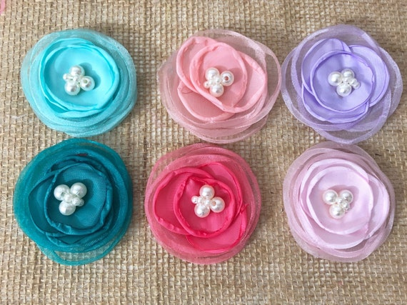 Flower Hair Clips,Baby Flower Clips, White Floral Clip, Ivory, Mint, Blush, Pink, Lavender Hair Clips, Bridal Pearl Organza Flower Clips