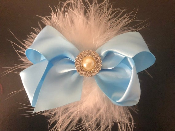 Baby Blue Hair Bow, Navy Hair Bow, Royal Blue  Bow, Baby Hair Bow, Holiday Satin Bow, Portrait Photo, Holiday Hair Bow, Flower Girl Hair Bow