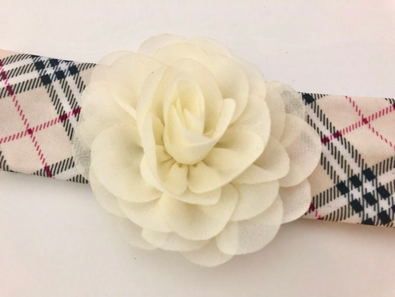 Beige Plaid Headband, Burberry inspired Baby head wrap Ivory Flower Headband, All Colors Newborn Headband, Baby girl gift, Toddler Headband