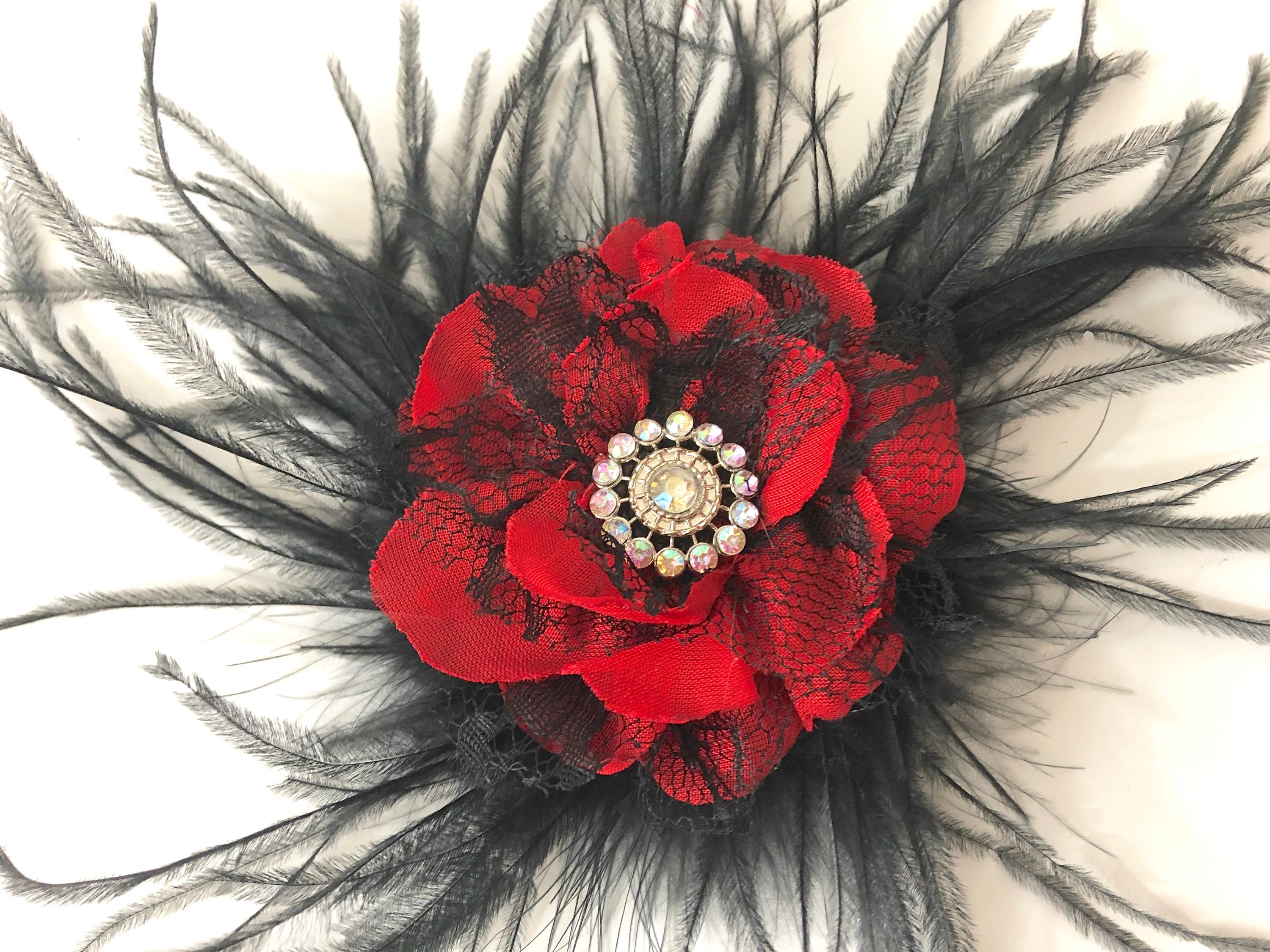 Red Black Flower Feather Hair Clip, Red Flower