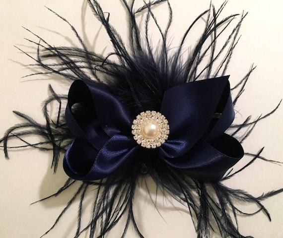 Navy blue Hair Bow, Bridal Hair Clip,  Flower Girl clip, Holiday Hair Bow, Small Hair Bow, Blue Hair Bow, Pearl Hair Bow, Satin Hair Bow