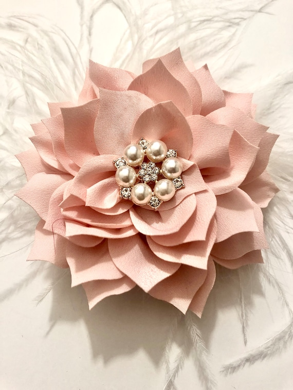 Blush Hair Clip,Blush Flower Clip, Rose Gold Clip, Wedding headpiece,Easter Flower Clip,Crystal Pearl Hair Clip Kentucky Derby Fascinator
