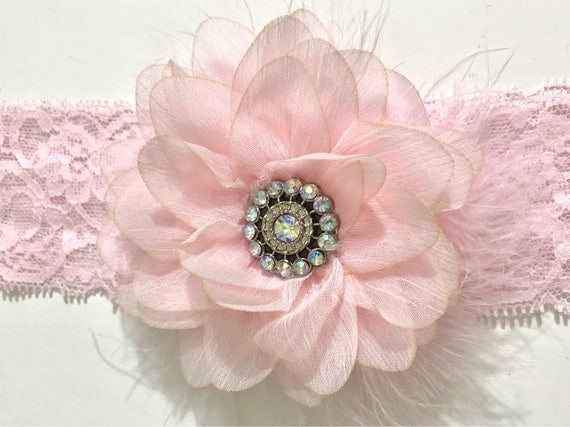 Pink Flower Headband, Soft Pink Baby Headband, Flower Girl Headband, Easter Flower Clip