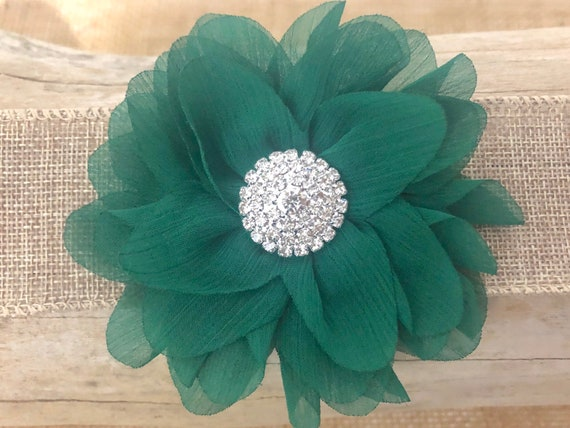 St Patrick's Day Hair Clips, Green Flower Clip, Custom Floral Hair Clips, Green White Hair Clip, Crystal Pearl clip, Green Flower Headband