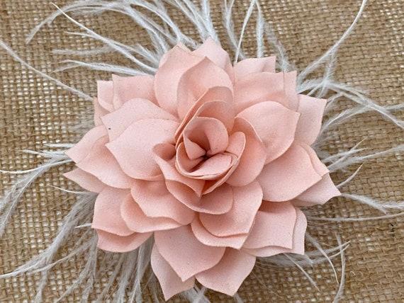 Blush Hair Clip Rose Gold Floral Hair clip, Nude Beige Clip, Wedding Fascinators, Blush Hair Clip, Nude Hair Clip, Kentucky Derby