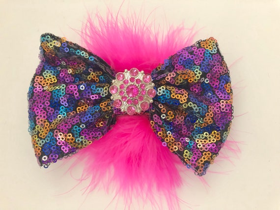 Rainbow Pink Hair Bow for Girls, Rainbow Dance Costume, Birthday Hair Bow, Custom Hair Bow, Birthday Gift,
