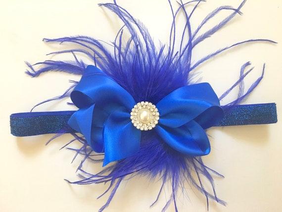 Baby Blue Bow Headband,Royal Blue Bow Headband,Baby Satin Hair Bow, Blue Feather Clip, Baby Hair Bow Headband,  Flower Girl Hair Accessories