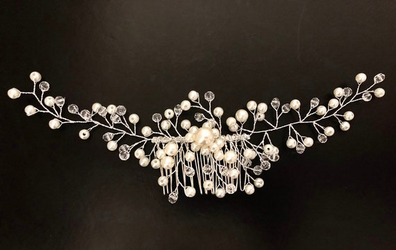 Pearl Hair Comb, Vintage Wedding Comb,Crystal Pearl Comb, Bridal Hair Jewelry, Bridal Headpiece, Wedding Hair Comb, Bridal Headpiece