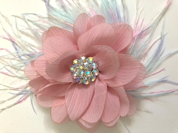 Soft Pink Flower Hair Clip, Pale Pink Hair Clip, Pastel Feather Hair Clip, Flower Girl Hair Accessories, Soft Pink Chiffon Headband