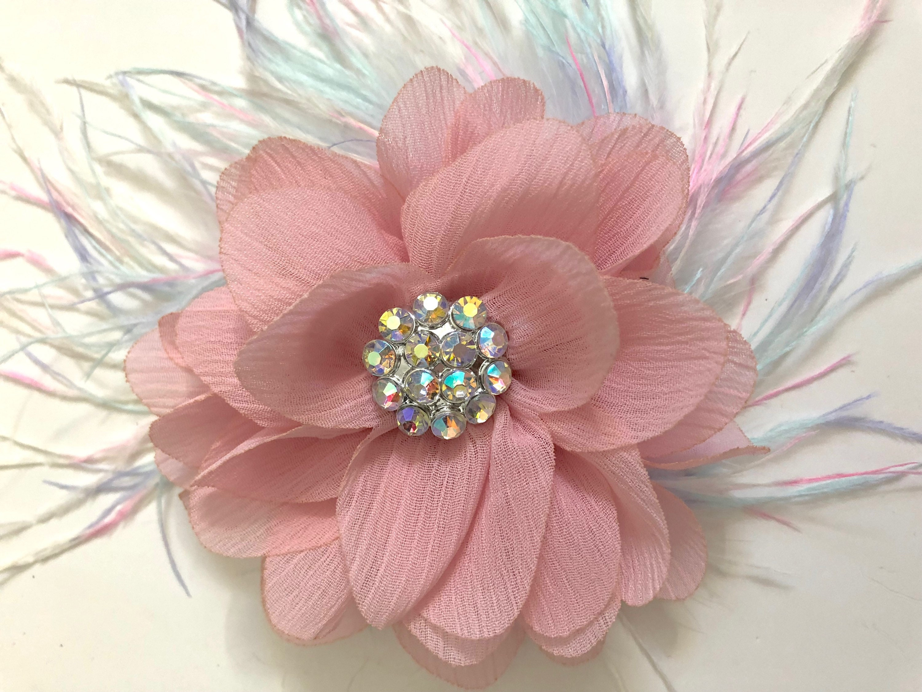 Soft Pink Flower Hair Clip Pale Pink Hair Clip Pastel Feather Hair