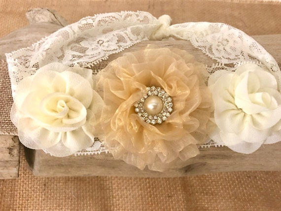 Baby Toddler Ivory Gold Flower Lace Hairband, Flower Girl Gold Flower Crown Hairband, Baptism Headband