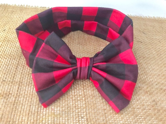 Red Plaid Baby Headband, Buffalo Red Black Plaid Headband,Red Black Plaid Baby Turban Headband, Soft Baby Christmas Headband