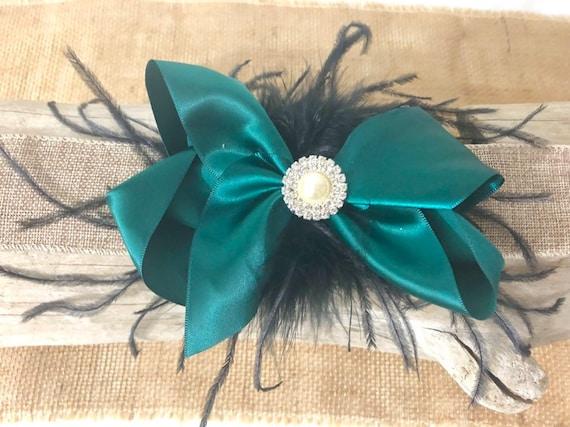 Christmas Hair Bow for Girls, Hunter Green Black Bow, Wine Black Hair Bow, Girls Portrait photo, Flower Girl Wedding Rhinestone Pearl Bow,
