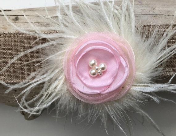 Flower Girl Hair Clip, Pink Hair Clip, Yellow Hair Clip, White, Mint, Coral, Teal Organza Clip, Bridal Flower Hair Accessories, Floral Clip