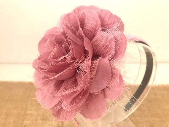 Dusty Rose Headband Fascinator, Dusty Pink Flower Headbands, Big Flower Headband, Blue, White,All colors