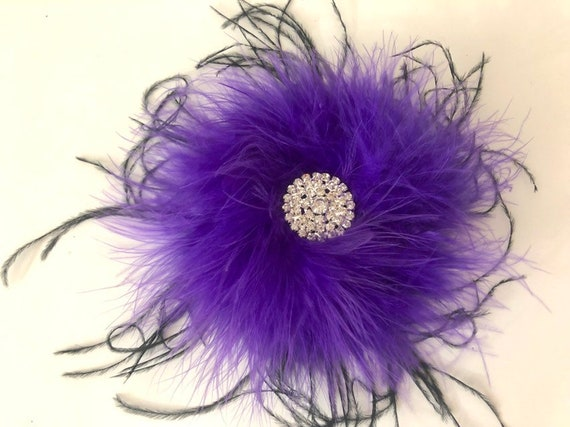 Black and Purple Feather Hair Clip, Rhinestone Hair Clip, Dance Costume Head piece, Feather Clip, All Colors, Custom Made Hair Pieces by Fan