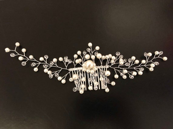 Pearl Hair comb, Bridal Pearl Hair Comb, Crystal Wedding Hair comb, Freshwater Pearl Hair Comb, Crystal Bridal Comb, Wedding Hair jewelry