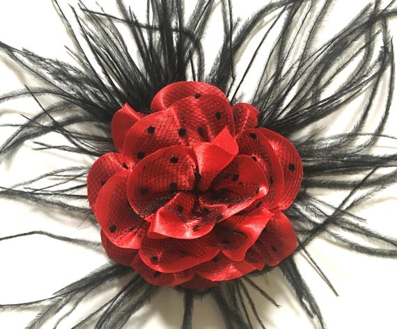 Red Black  Clip, Red Flower Clip, Black Hair Clip, Holiday Hair Clip, Teal, Pink and Black Flower Hair Clip, Portrait photo, girl hair clip