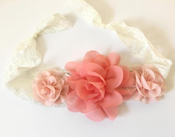Floral Headband, Coral Peach Headband Lace Hair Tie Headband, Flower Lace Tie Back Headband, Peach and Coral Chiffon Flower Lace Baby Hairti