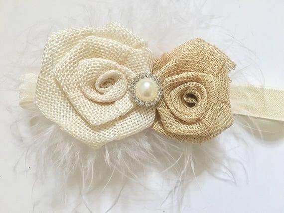 Ivory Beige Burlap Headband, Baby Headband,  Baptism Headband, Rustic Headband, Burlap Tan Ivory Hair Clip,  Ivory Flower Headband, Boutique