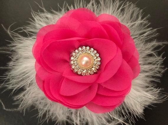 Floral Pink Hair Clip, Spring Flower Hair Clip, Hot Pink Clip, White Hair Clip, Ivory Hair Clip, Coral, Navy Hair Clip,Flower Girl Hair Clip