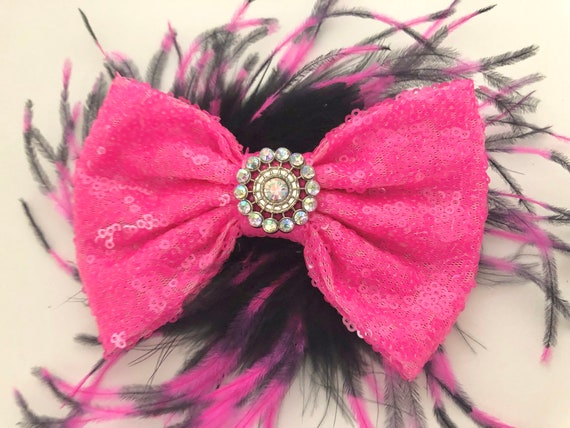 Pink and Black Hair Clip, Dance Costume, Neon Pink Bow, Hot Pink Black Clip, Black Pink Feather Clip,Hot Pink Bubble Gum Bow,Dance Costume