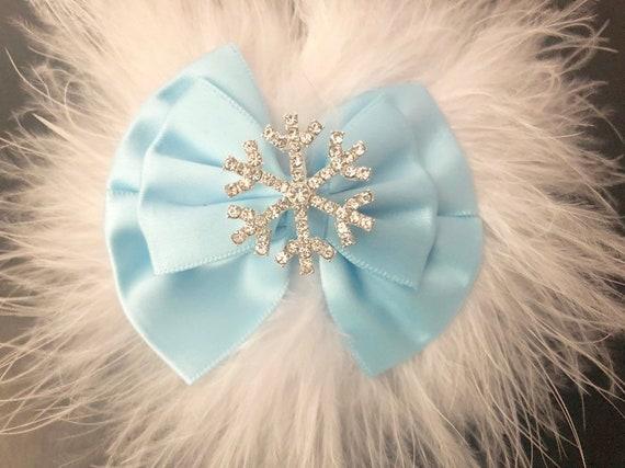 Snowflake Hair Bow, Baby Blue Satin Hair Bow, White Blue Snowflake Hair Bow, Baby Christmas Hair Bows