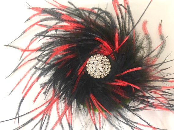 Dance Costume Feather clips, Red Black, Hot Pink Feather Clip, Navy, White, Burgundy Feather Hair Clips, All colors