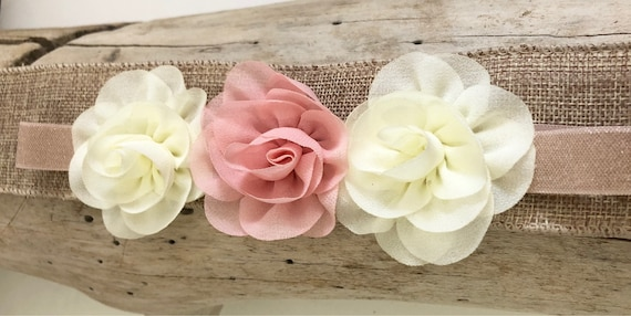 Floral Baby Headband, Pale Pink Ivory Flower Headband, Baby Flower Girl Headband, Flower Girl headband, Small Flower Headband, All Colors.