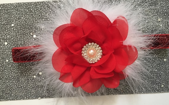 Red Baby Flower Headband, Christmas Headband, Baby Floral Headband, Chiffon Flower in Ivory, White, Navy, Pink, Beige, Gold Baby Headbands