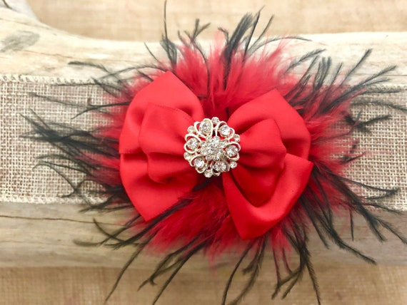 Red Black Small Hair Bows, Red Black Hair Clip, Red Black Feather Bow, Red Bow, Christmas Red Hair Clip,Black Red Feather Clip