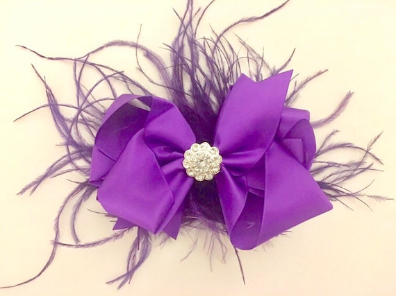 Purple Satin Bows, Feather Hair Clip, White Feather Bow,Christmas Hair Bows, Mint Feather Bow, Ivory Satin Leather Clip, Flower Girl Wedding