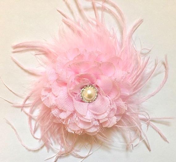 Pink Flower Hair Clip, Bridal Flower Hair Clip, Ivory, White, Mint, Aqua, Blue Chiffon Lace Flower Clip, Bride Hair Clip, Flower Girl Hair