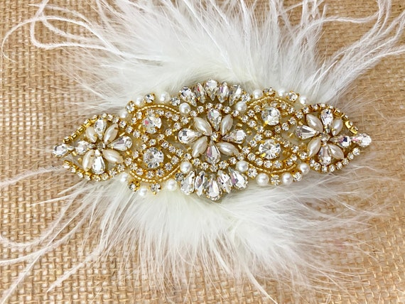 Gold Wedding Hair piece, 1920's Gatsby Hairpiece, Rose Gold, Gold, Silver Deco Bridal Hairpiece, Crystal Hair Comb, Bridal Hair Comb