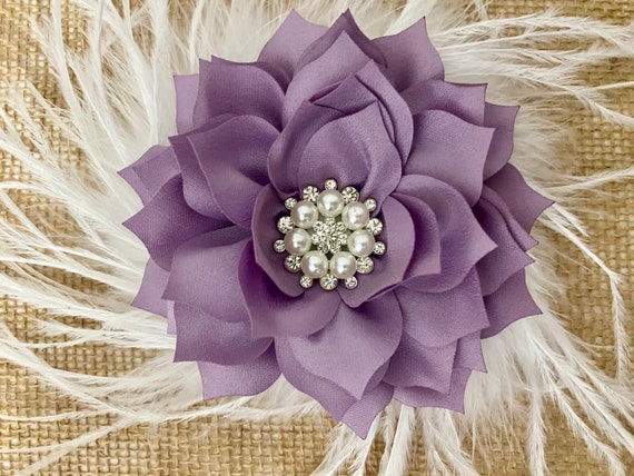 Christmas Hair Bow, Lilac Hair Bow, Purple Hair Bow, Burgundy Bow, Taupe, Dusty Pink Rose, Purple, Ivory, Lilac Flower Feather Hair Bows
