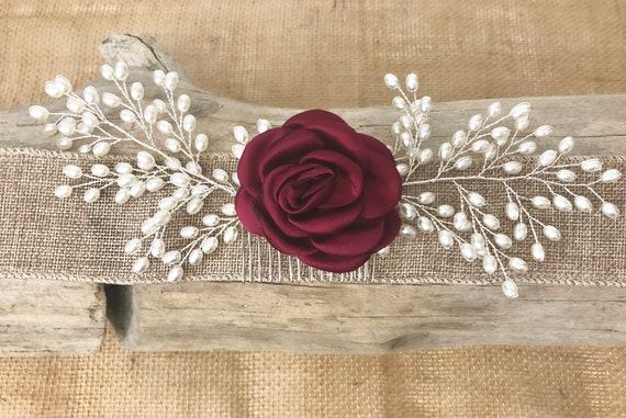 Wedding Hair Comb, Burgundy Flower Comb, Bridal Pearl Hair Comb, Bridal Hair Jewelry, Flower Hair Comb, Vintage Wedding headpiece