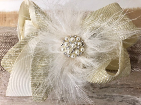 Holiday Gold Bow, Gold Hair Bow Girls, Portrait Photo, Ivory Gold Bow, Baby Hair Bow, Pearl Marabou Hair Bow, Flower Girl Hair Bow, Wedding