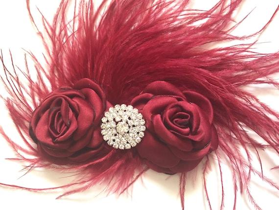 Burgundy Flower Clip, Christmas Holiday Hair Clip Girl Flower Girl Hair Accessories, Bridal Hair Clip Feather Clip, Wine Flower Hair Clip,