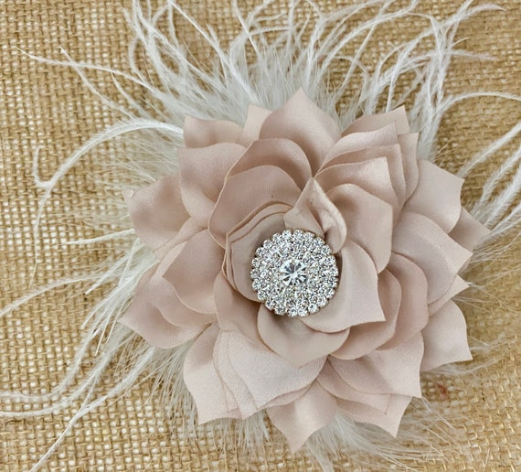 Champagne Hair Clips, Champagne Wedding Flower Clip, Beige Hair Clip, Crystal Flower Clips,Bridal Hair Jewelry Wedding Headpiece Fascinator