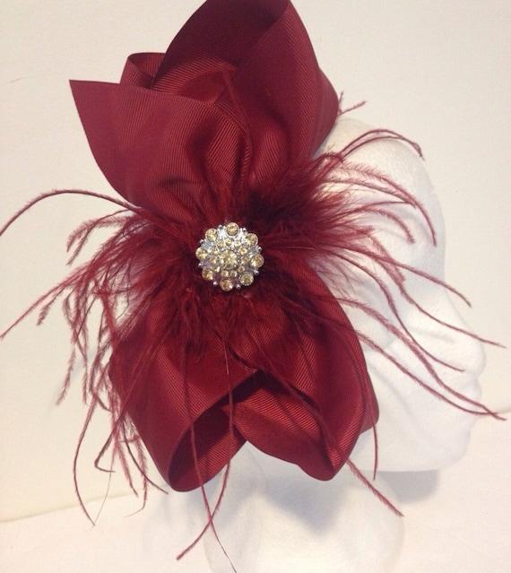 Burgundy Bow Fascinator Headband, Maroon Wine Hair Bow Headband, Flower Girl Headband,Dance Costume,Wine Feather Headbands,