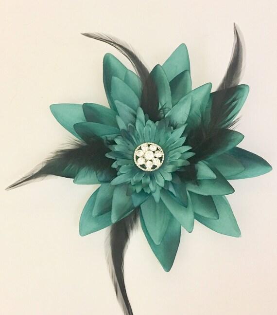 Teal Flower Hair Clip, Hair Fascinator, Bridal Hair Clip, Holiday Flower Clip, Teal and Black Feather Flower Hair Clip,