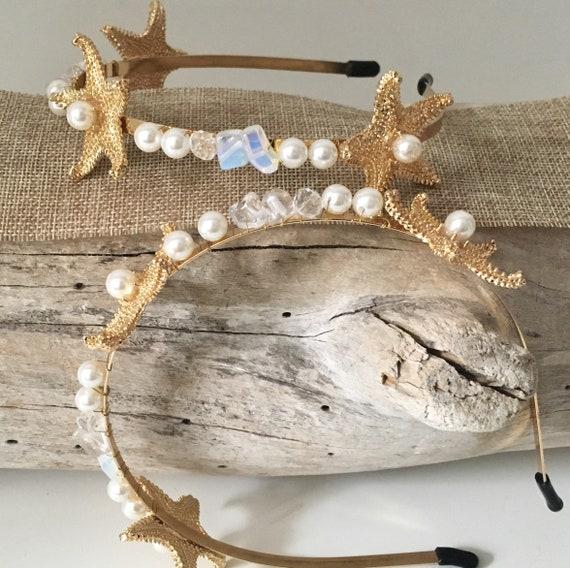 Starfish Crown, Starfish  Headband, Gold Crown Headband, Beach Wedding Headband, Flower Girl Starfish Gold Crown Headband, Beach Bride